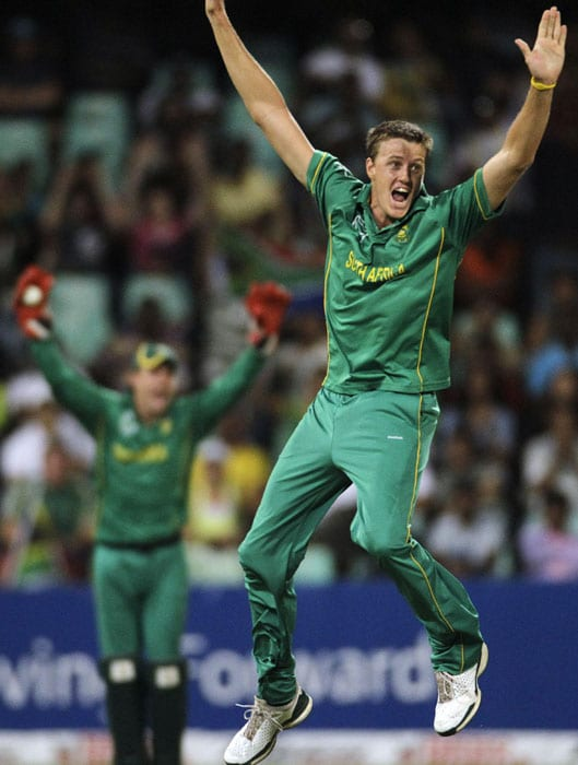 South Africa's bowler Morne Morkel celebrates the wicket of India's batsman Rohit Sharma, during the first One Day International cricket match against South Africa at the Kingsmead stadium in Durban. (AP Photo)