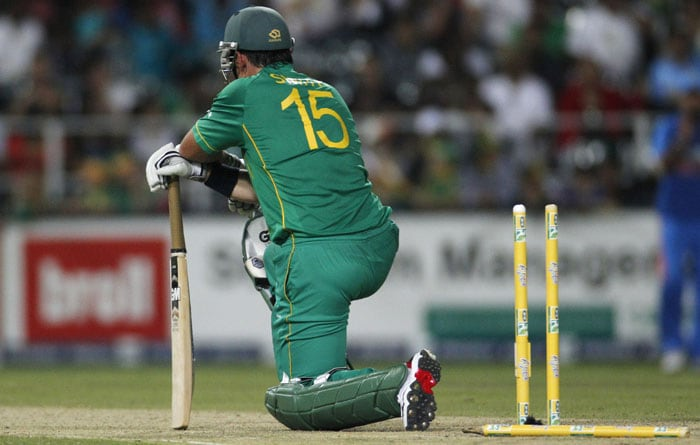South Africa's captain Graeme Smith is bowled by India's bowler Munaf Patel, for 77 runs during the second One Day International cricket match against South Africa at the Wanderers stadium, Johannesburg. (AP Photo)