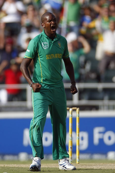 South Africa's bowler Lonwabo Tsotsobe reacts after dismissing India's batsman Yuvraj Singh, during the second One Day International cricket match against South Africa at the Wanderers stadium, Johannesburg. (AP Photo)