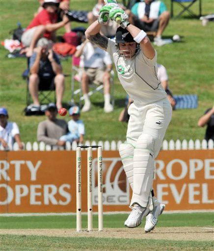Brendon McCullum shoulders the bat against India on Day 1 of the first Test at Seddon Park in Hamilton. (AP Photo)