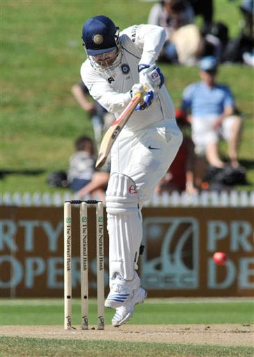 Virender Sehwag bats against New Zealand on the second day of the first Test in Hamilton, New Zealand on March 19, 2009. (AP Photo)