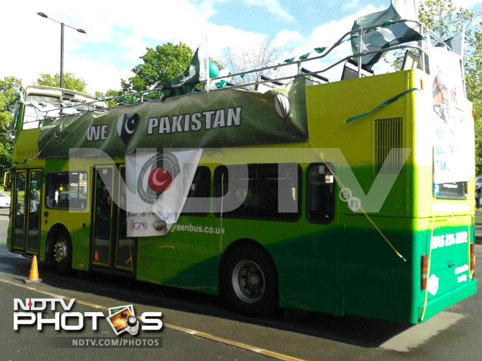 A bus is draped in Pakistan colours as fans find new and creative ways to support their side.