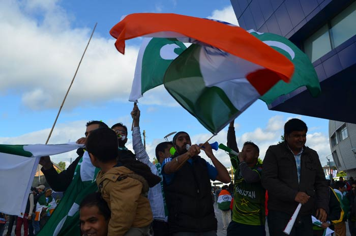 Indian fans set the mood for the match even before they enter the stadium.