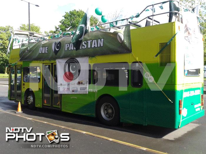 The bus carries Pakistan supporters to the stadium for the game.