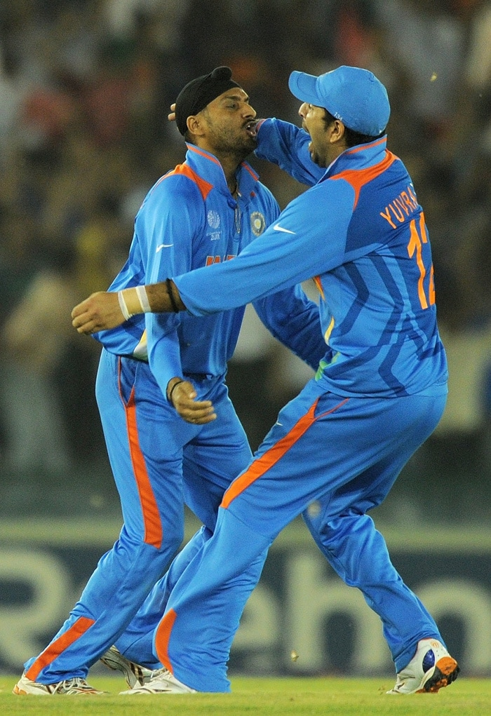 But it wasn't to be as Harbhajan picked him up to end Pakistan's hopes. (AFP Photo)