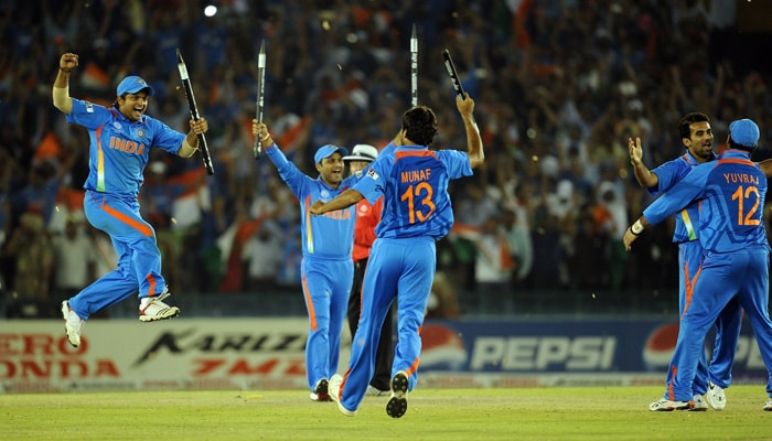 Indian cricketers celebrate victory over Pakistan. (AFP Photo)
