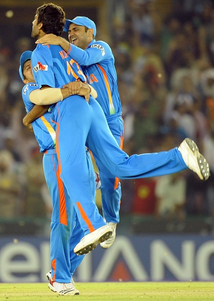 Munaf Patel bowled Abdul Razzaq in a rather emphatic fashion to put India into cruise control. (AFP Photo)