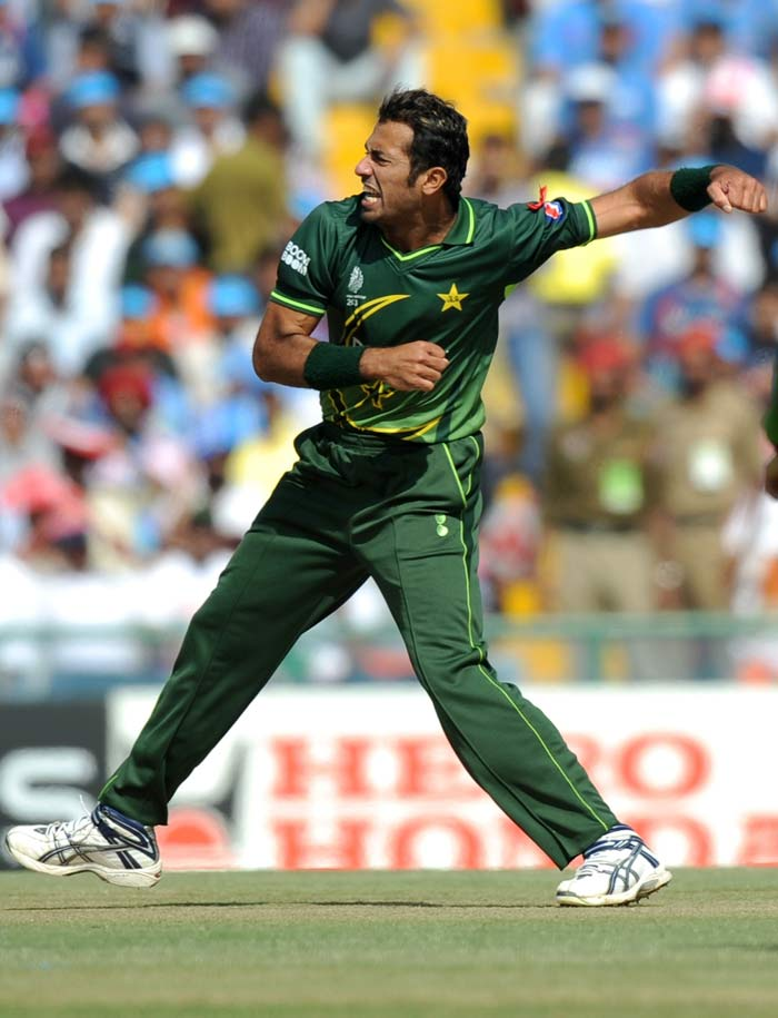 Pakistan pacer Wahab Riaz picked up his second wicket to send back Virat Kohli. (AFP Photo)