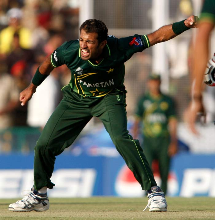 Wahab Riaz wrapped up his quota of 10 overs with the wicket of Zaheer Khan, his fifth of the match. (AFP Photo)