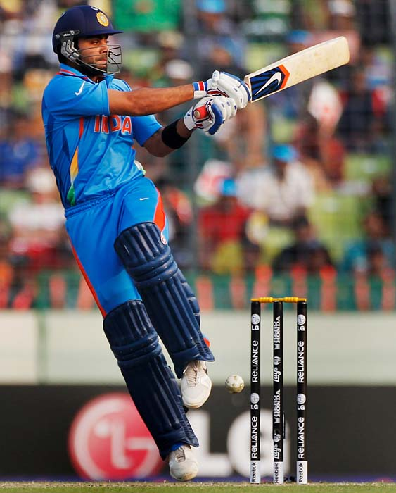 Virat Kohli: Has proven he is slightly better than fellow youngsters in the team in terms of consistency. Capable of keeping a cool head, he will look to add to his tally of a century and half a ton that he has already scored in this World Cup. <b>Last World Cup match against Pakistan: Did not play</b> (Getty Images)