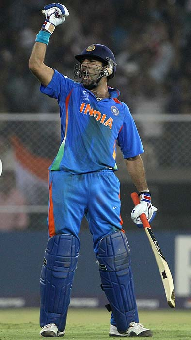 Yuvraj Singh: A billion will hope laws of averages truly don't apply to cricket as the local hero turned national hero will hope to stand out again. Four man of the match awards in the tournament is enough to explain what he is capable of with the bat as well as the ball. <b>Last World Cup match against Pakistan: an unbeaten 50 runs</b> (Getty Images)