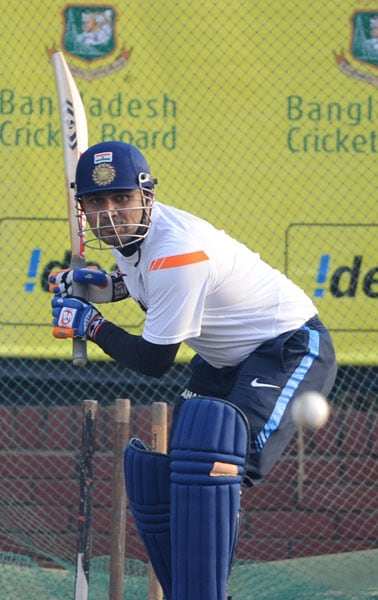 Virender Sehwag plays a shot during a practice session at the Sher-e Bangla National Stadium in Dhaka. (AFP Photo)