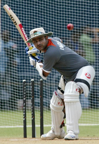 Virender Sehwag bats during a net practice session in Chennai on Tuesday, March 25, 2008. The first Test of the Future Cup series between India and South Africa is scheduled to start on March 26.