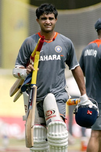 Sourav Ganguly walks during a practice session in Chennai on Tuesday, March 25, 2008. The first Test of Future Cup cricket series between India and South Africa is scheduled to start on March 26.