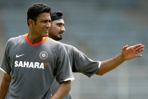 India's Test cricket captain Anil Kumble, front, looks on as team member Harbhajan Singh gestures during a net practice session in Chennai on Tuesday, March 25, 2008. The first Test of the Future Cup series between India and South Africa is scheduled to start on March 26.