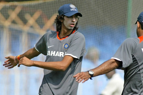 Ishant Sharma stretches during a practice session in Chennai on Tuesday, March 25, 2008. The first Test of the Future Cup series between India and South Africa is scheduled to start on March 26.