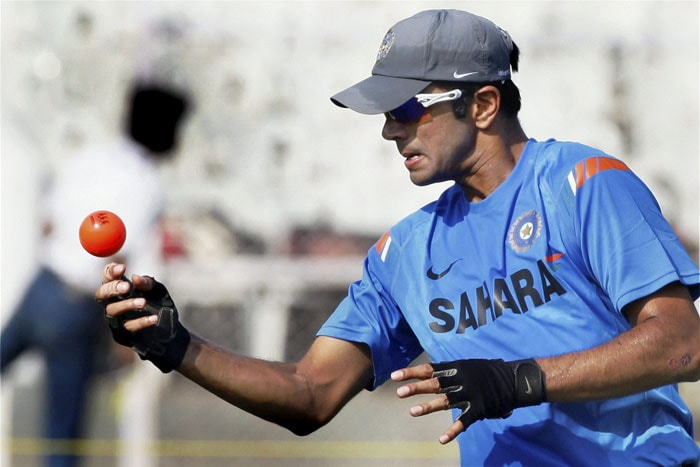 Rahul Dravid during a practice session ahead of the third Test match between India and Sri Lanka in Mumbai. (PTI Photo)