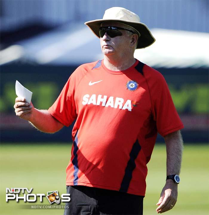 Indian cricket coach Duncan Fletcher speaks to the team during the net practice in Taunton, England. (AP Photo)