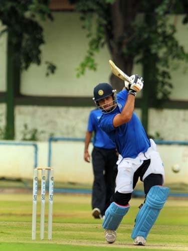 Virat Kohli bats during a practice match at the National Cricket Academy (NCA) in Bangalore. (AFP Photo)