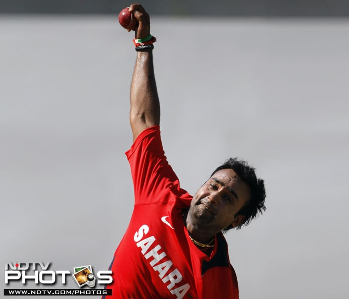 India's Amit Mishra bowls during a practice session in Kingston, Jamaica. (AP Photo)