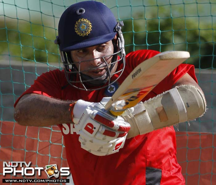 India's VVS Laxman bats in the nets during a practice session in Kingston, Jamaica. (AP Photo)