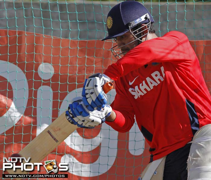 Indian captain Mahendra Singh Dhoni bats in the nets during a practice session in Kingston, Jamaica. (AP Photo)