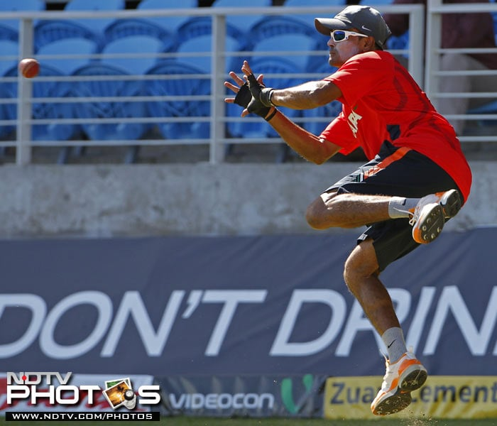 India's Subramaniam Badrinath jumps to catch a ball during a practice session in Kingston, Jamaica. (AP Photo)