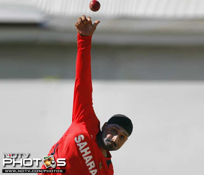 India's Harbhajan Singh bowls during a practice session in Kingston, Jamaica. (AP Photo)