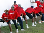 Photo : Dhoni returns to cricket, practices with team