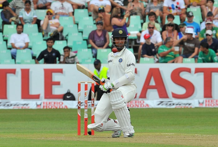 Cheteshwar Pujara bats on the first day of the second Test between India and South Africa at the Kingsmead Stadium in Durban. (AFP Photo)