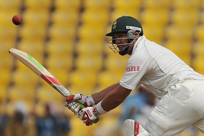 South African Jacques Kallis smacks one en-route to his unbeaten ton of 159 on the first day of the first cricket Test match between India and South Africa in Nagpur. (AFP Photo)