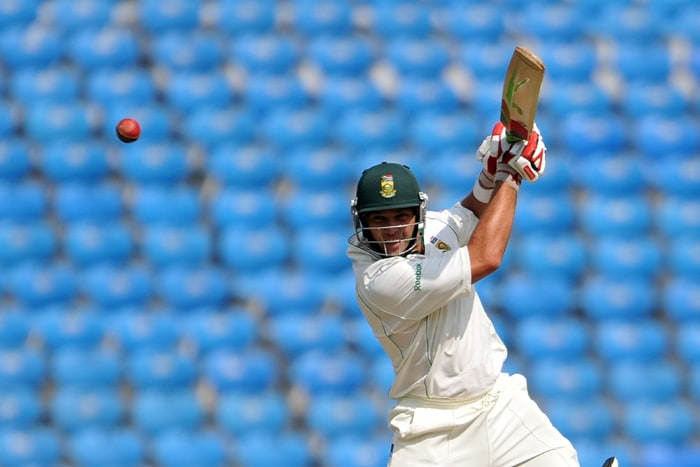 Jacques Kallis on way to his 159* against India on the first day of the first Test match against India. (AFP Photo)