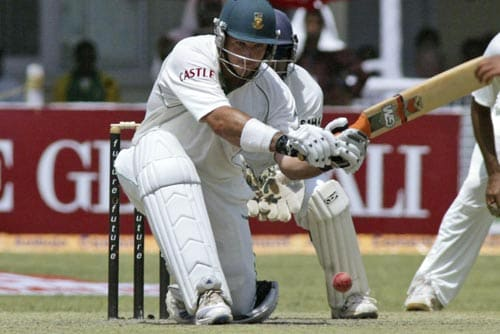 Graeme Smith plays a shot during the first day of the third cricket Test match of the Future Cup series in Kanpur on Friday, April 11, 2008.