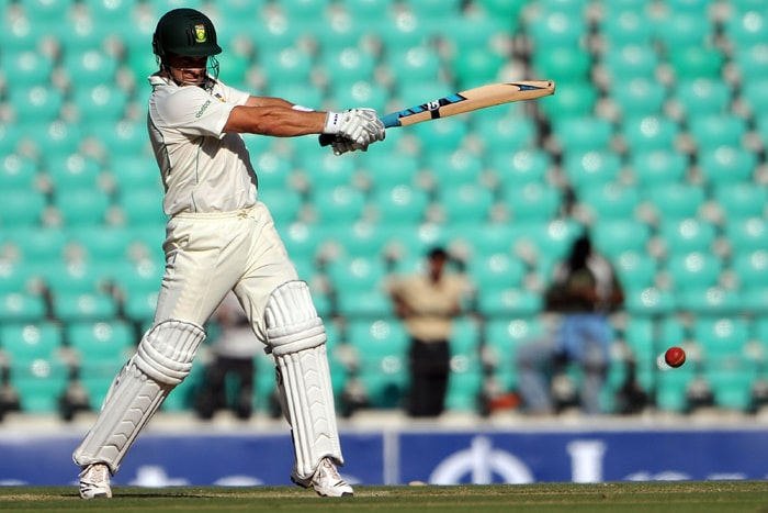 Mark Boucher in action on the second day of the first Test between India and South Africa in Nagpur. (AFP Photo)