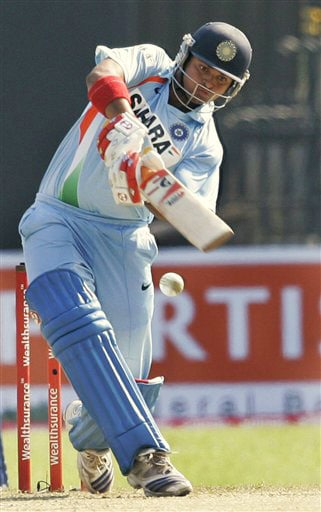 Suresh Raina bats during the second One-Day International between India and Sri Lanka in Colombo.