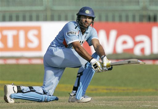 Yuvraj Singh plays a shot during the second One-Day International between India and Sri Lanka in Colombo.