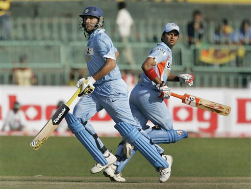 Yuvraj Singh and Suresh Raina run between wickets during the second One-Day International between India and Sri Lanka in Colombo.