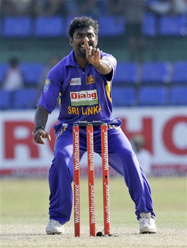 Muttiah Muralitharan successfully appeals to dismiss Yusuf Pathan during the final ODI match between India and Sri Lanka in Colombo on Sunday. (AP Photo)