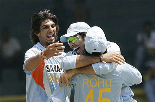 Ishant Sharma, Yuvraj Singh and Rohit Sharma celebrate the dismissal of Tillakaratne Dilshan during the fifth and final ODI of the five-match series between India and Sri Lanka in Colombo.