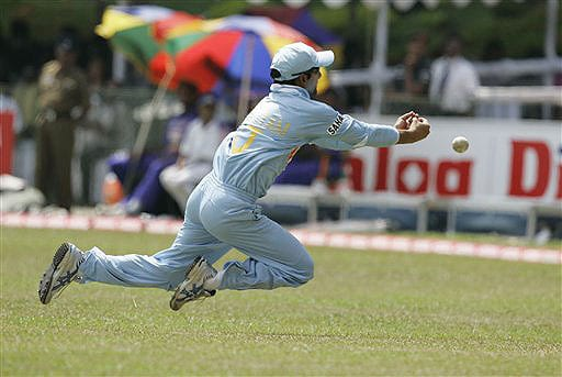 Gautam Gambhir dives to catch a ball during the fifth and final ODI of the five-match series between India and Sri Lanka in Colombo.