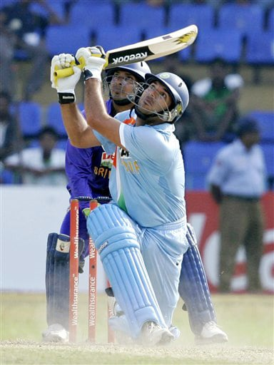 Yuvraj Singh hits the ball during the final ODI match between India and Sri Lanka in Colombo on Sunday. (AP Photo)