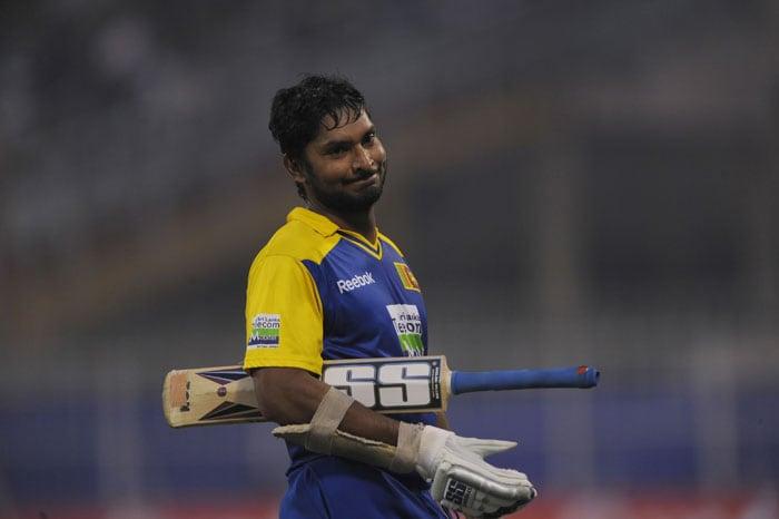 Kumar Sangakkara reacts after being dismissed during the fourth ODI against India at Eden Gardens Stadium in Kolkata. (AFP Photo)