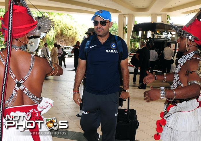 Traditional dancers welcomed Virender Sehwag and the entire Indian team. (AFP Photo)
