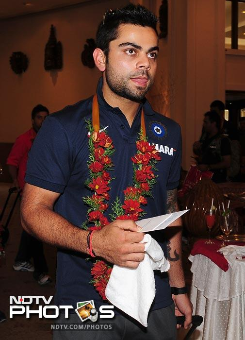 Vice-captain Virat Kohli arrives with his team in Colombo. (AFP Photo)
