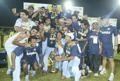 Victorious Indian team pose for photographers after the 5th and final One-Day International between India and Sri Lanka on August 29, 2008. India won the 5 match series 3-2.