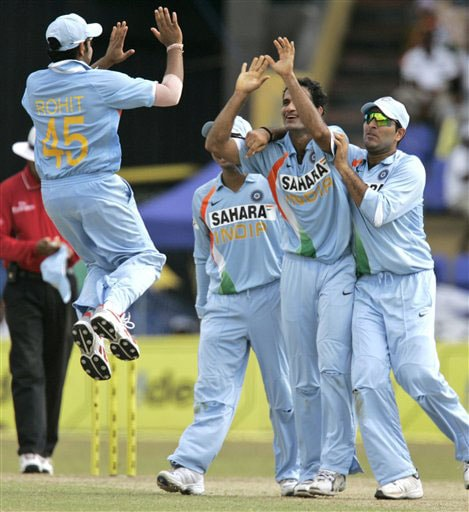 From left Rohit Sharma, Irfan Pathan and Yuvraj Singh celebrate the dismissal of Malinda Warnapura during the 5th and final One-Day International between India and Sri Lanka on August 29, 2008.