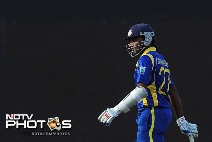 Sri Lanka had another 50-run stand between Lahiru Thirimanne and Dinesh Chandimal before Chandimal was sent packing by Manoj Tiwary. Mahela Jayawardena followed his teammate into the dressing room in the very next over.