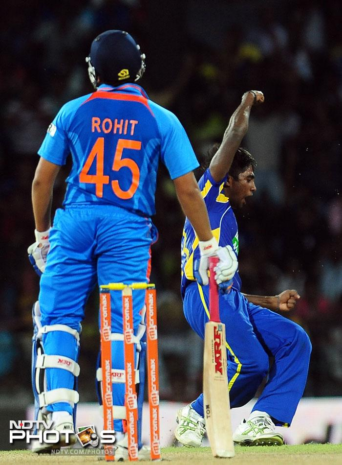 A lot was expected of Rohit Sharma, especially after Dhoni decided to drop Rahul Sharma and bring in Manoj Tiwary instead of dropping the out of form Sharma. He majorly disappointed yet again though, dismissed Lbw off Nuwan Pradeep. He managed just four.