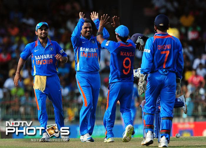For India, the unconventional and unheralded spinning duo of Virender Sehwag and Manoj Tiwary did the trick. Sehwag got the all important wicket of the Sri Lanka skipper and lead batsman, Mahela Jayawardena.