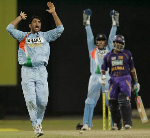 Yuvraj Singh successfully appeals for the wicket of Chamara Kapugedera.